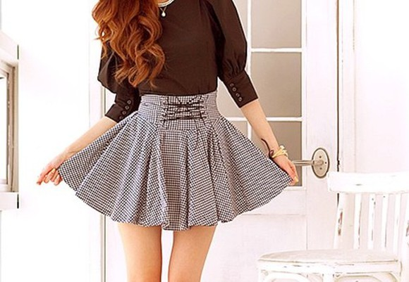 black shirt cute skirt watch pretty classy girly