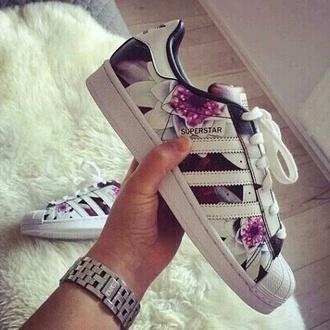 shoes flowers adidas adidas superstars women