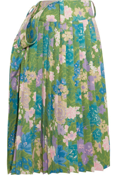 Balenciaga skirt midi skirt pleated midi floral print green