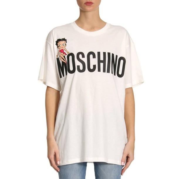 Moschino t-shirt shirt t-shirt women couture white top