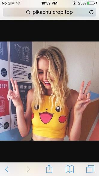 pikachu pokemon yellow crop tops sleeveless kawaii sleeveless top