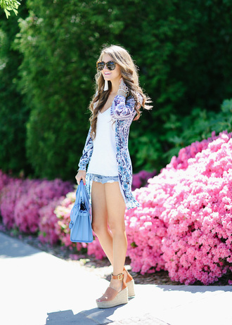 southern curls and pearls blogger cardigan dress bag jewels sunglasses denim shorts blue bag wedges