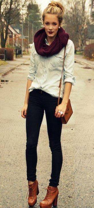 scarf bag pants shirt shoes