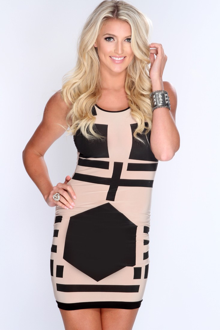 Beige Black Printed Pattern Body Con Dress