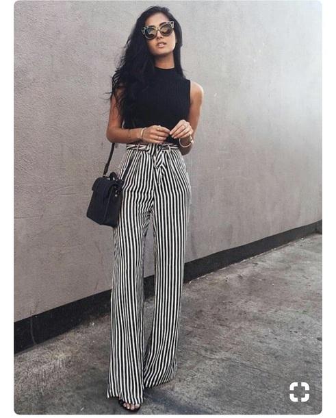 4fa68a8cb41f pants, stripes, black and white, wide-leg pants, black pants, white ...