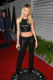 candice swanepoel,crop tops,leather,pants,shirt