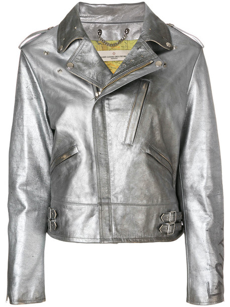 GOLDEN GOOSE DELUXE BRAND jacket women leather cotton grey metallic