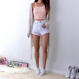 shorts cardigan sweater white black tumblr grunge tumblr outfit pale pale grunge high waisted weheartit aesthetic tumblr aesthetic grunge tank top shirt pink tank top top light pink short shorts converse outfit goals tan pink shirt pink baby pink jacket high waisted ripped shorts