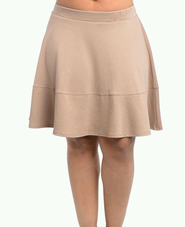 Tan Beige Plus Size Skater Flared Skirt Cute Stretch Waist 1x 3X | eBay