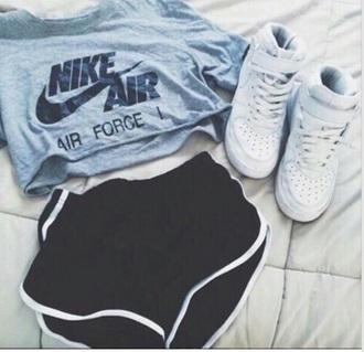 shorts black white white n black nike grey superstar tumblr cute style girl