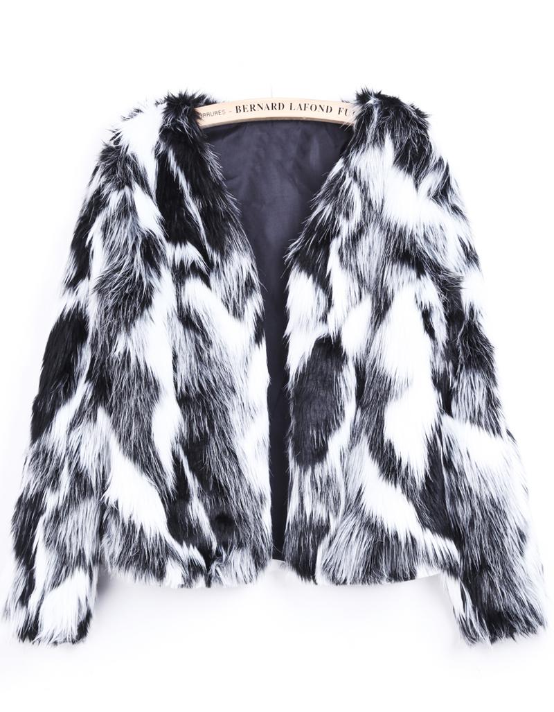 Black White Long Sleeve Crop Faux Fur Coat Shein Sheinside