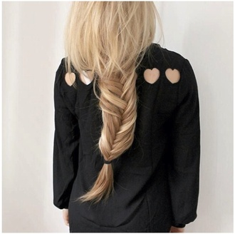 blouse tumblr clothes i really want this tumblr girl blonde hair black blouse heart cut out fishtail braid cut-out love i'm in love i want now angle b.e.a.u.t.i.f.u.l!