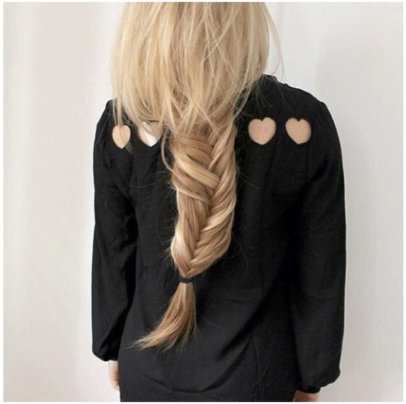 fishtail braid tumblr girl tumblr clothes blouse black blouse heart cut out blonde hair cut outs on the back love, shirt, angle, b.e.a.u.t.i.f.u.l! i really want this i'm in love i want now