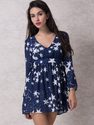 dress mynystyle blue stars vintage cute dress cute outfits summer dress