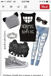 t-shirt,jeans,shoes,hat,monster,grey beanie,grey,teeth,fluffy,ears,pants,top,sunglasses,shirt,tank top,cat ears,blouse,monster purse,normal is boring