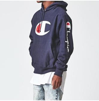 sweater champion hoodie blue