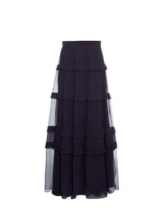 skirt maxi skirt maxi silk navy