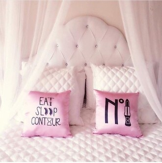 home accessory pillow silk pink eat sleep contour