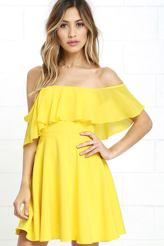 dress yellow yellow dress off the shoulder off the shoulder dress ruffle ruffle dress summer summer outfits