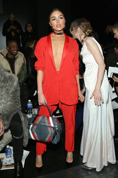 jacket,suit,red,olivia culpo,fashion week 2016,NY Fashion Week 2016,purse,bag