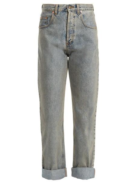 gucci jeans embroidered tiger light blue light blue