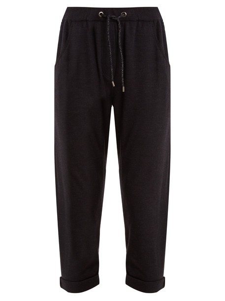 BRUNELLO CUCINELLI pants track pants embellished navy