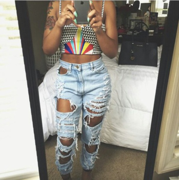 Jeans: ripped jeans, sexy, light blue jeans, mom jeans - Wheretoget