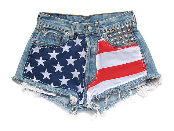 American flag high waisted shorts by deathdiscolovesyou on etsy