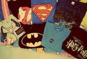 t-shirt,batman,ghost busters,superman,harry potter,star wars