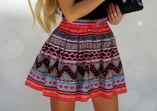 Skirt Hippie High Waisted Tribal Pattern Fashion Clothes Sirly Pink Aztec Bright Print