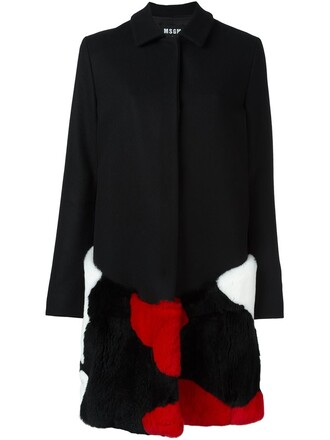 coat fur women embellished black wool