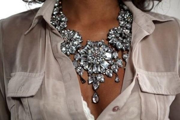 jewels necklace silver diamonds stones jewelry