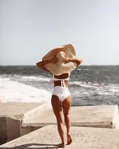 swimwear,bikini,bikini top,bikini bottoms,white bikini,hat,huge hat,summer hat,sun hat,beach