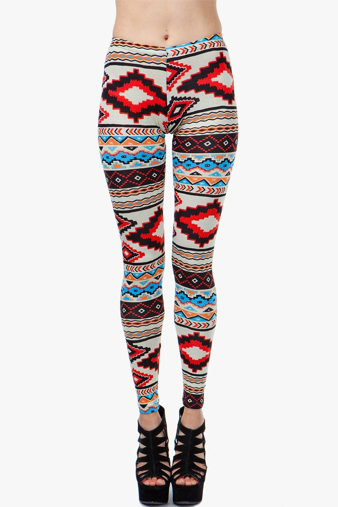 A'GACI Natural Red Pop Aztec Legging - BOTTOMS