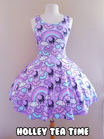 ☆ Rainbow Spooky Bats ☆ Purple Skater Dress MADE TO ORDER ✧ Pastel Goth ✧ Creepy Cute · Holley Tea Time · Online Store Powered by Storenvy