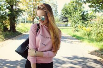 sweater zaful pink pastel style sunglasses quote on it black fashion back to school instagram indie mirrored sunglasses streetwear tumblr trendy streetstyle casual tumblr girl