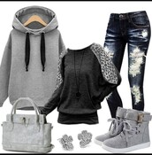 sweater,hoodie,sneakers,shoes,shirt,jeans,gray hoodie,ripped jeans,high top sneakers,black t-shirt