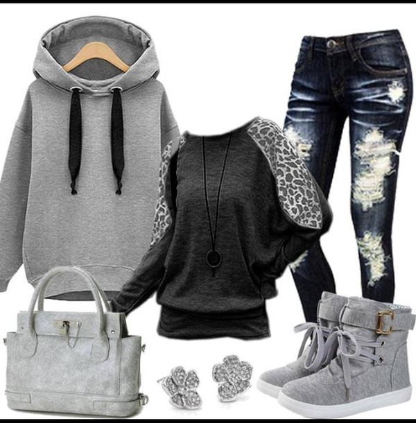 sweater hoodie sneakers shoes shirt jeans gray hoodie ripped jeans high top sneakers black t-shirt