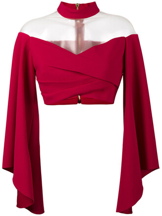 top cropped women silk purple pink