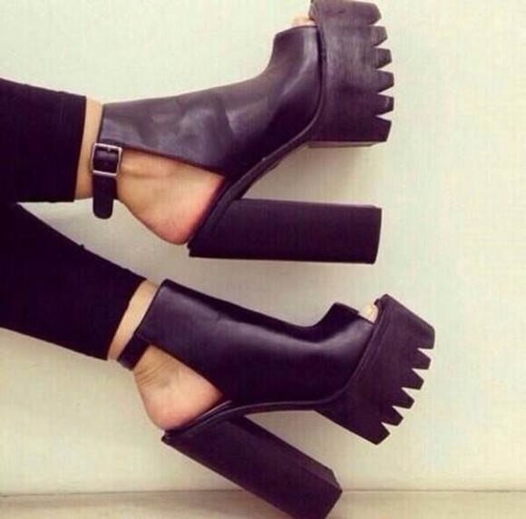 shoes high heels boots peep toes chunky black platform shoes