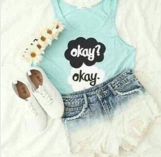 shirt tfios shirt tfios blue okay? okay. flower crown okay okay turquoise high waisted jean shorts denim shorts white converse white and blue gradiant shorts gradient shorts tank top cute cute top the fault in our stars