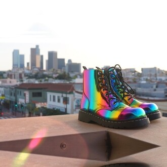 shoes tuk zooshoo boots booties rainbow platform shoes platform boots platform booties laced up laced up boots laced up booties edgy edgy boots edgy booties
