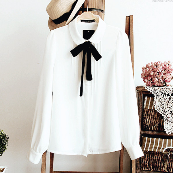 Blouse: sheer blouse, korean fashion, straw hat, black ribbon ...