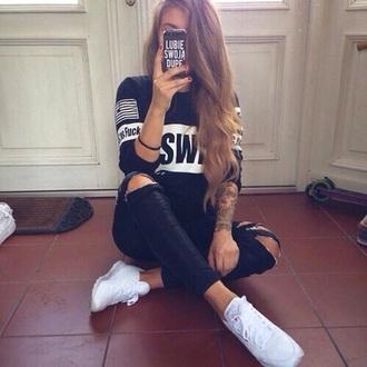 jeans black jeans black fashion earphones sweater