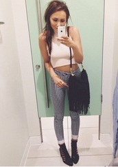 pants,clothes,black,white,high waisted,style,fashion,hipster,grunge,bottoms,checkered,dogtooth,houndstooth,b&w,top,checkered pants,bag,jeans,shirt,stripes,rolledup,iphone,pink,shoes