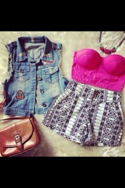 shorts blouse sweater bag jewels