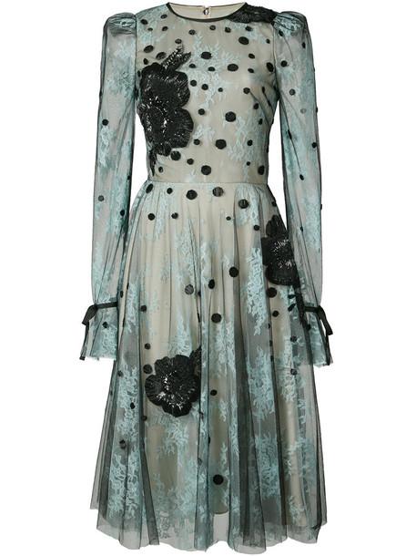 Monique Lhuillier dress women blue silk