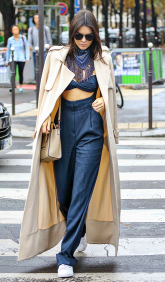 pants top fashion week kendall jenner streetstyle coat trench coat jumpsuit