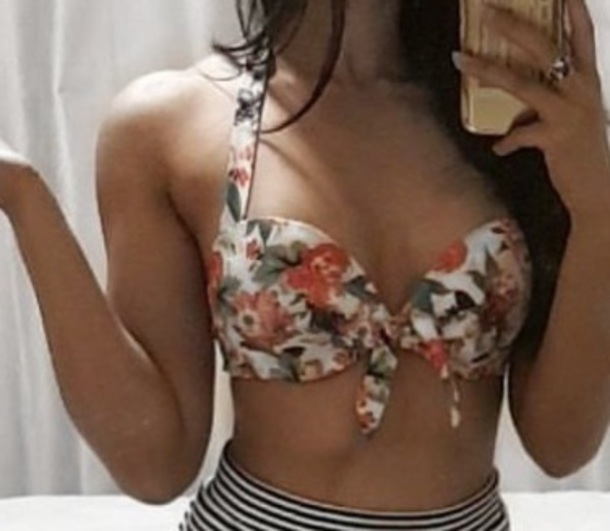 blouse floral padded bikini top coral floral  padded bra halter neck.   this top