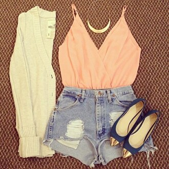 top sweater fashion jeans ripped shorts summer peach necklace shoes black girly casual cardigan outfit spaghetti strap